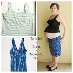 DIY Maternity Knit Skirt Refashion - Tank Top + Dress = Yoga Skirt by swoodsonsays