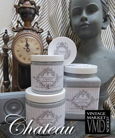 Vintage Market And Design Furniture Paint - A Chalk Based Paint Velvety stone grey. Medium/dark with blue hues. Sophisticated. *Note: Photos are our actual jars of paint and painted wooden blocks but