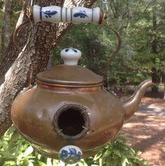 copper tea kettle bird house