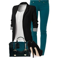 A fashion look from March 2014 featuring 7 For All Mankind jeans, Giuseppe Zanotti pumps and ASOS handbags. Browse and shop related looks. Mode Outfits, New Outfits, Stylish Outfits, Fall Outfits, Fashion Outfits, Womens Fashion, Fashion Trends, Casual Chique, Moda Chic