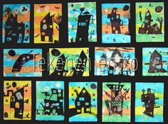 Haunted Houses- background is made of tissue paper that has been wet, then peeled. Haunted houses are then sketched and colored in with black marker. Artists For Kids, Art For Kids, Pastel Crayons, Drawing Sheet, Black Construction Paper, 4th Grade Art, Autumn Art, Winter Art, Chalk Pastels