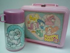 Rare Vintage 1986 Fluppy Dogs Pink Plastic Aladdin Lunch Box & Thermos