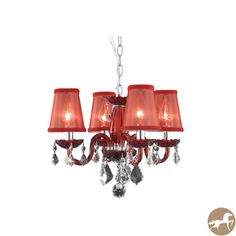 Rococo 4-Light Red Chandelier With Crystals and Shades