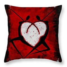 Abstract Throw Pillow featuring the painting Love dance by Iulia Paun