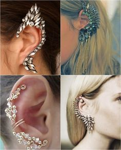 One of the biggest trends this season is the growing look of ear cuffs. Ear cuffs are everywhere these days, and with the trend continuing to make moves, we c… Ear Jewelry, Body Jewelry, Jewelry Accessories, Fashion Accessories, Fashion Jewelry, Jewelry Making, Unique Jewelry, Jewellery, Skull Jewelry