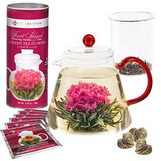 Teabloom Flowering Tea Set - 34 Oz Red Glass Teapot with Infuser and 12 Blooming Tea Flowers in Gift Canister - Cool Kitchen Gifts
