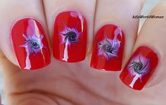 #Red #needle #nailart with #swirl - For more #easy #nails please visit: https://www.youtube.com/user/LifeWorldWomen
