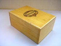 Vintage varnished blond wood cigarette box hinged lid made by Dockers Birmingham and London England tobacciana keepsake knick knack box by IrishBarnVintage on Etsy