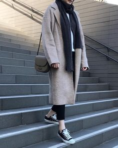Love this simple and minimalist outfit : The Neutral Studio coat + Muji USA scarf + Converse sneakers By