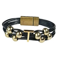 Initial T Leather Bracelet. Black leather with gold initial and beads. #wrapyourstyle #initialjewelry #initialbracelets #initialleatherbracelets