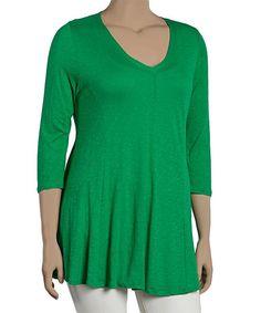 Green V-Neck Tunic - Plus
