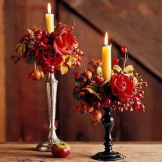 Fall candles with flowers.  Maybe on a mantle or piano.