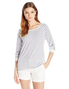 VELVET BY GRAHAM  SPENCER Womens Stripe Cotton Raglan Tee Garland Medium -- You can find out more details at the link of the image.