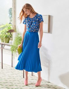Buy Boden Blue Kristen Pleated Skirt from the Next UK online shop Blue Pleated Skirt, Pleated Skirt Outfit, Skirt Outfits, Dress Skirt, High Street Fashion, Street Style, Dress With Stockings, Full Skirts, Modest Skirts