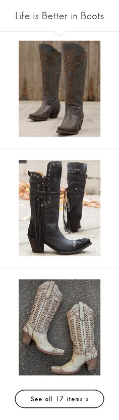 """""""Life is Better in Boots"""" by buckle ❤ liked on Polyvore featuring shoes, boots, brown, studded knee high boots, tall boots, equestrian boots, equestrian tall boots, tall brown boots, black and strappy boots"""