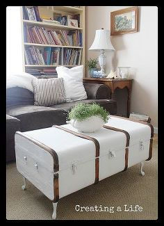 vintage trunk coffee table, painted furniture, repurposing upcycling, And this once drab old trunk has a fresh new lease on life