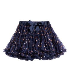 Dark blue. Tiered skirt in double layers of tulle with a decorative satin bow at front. Satin-covered elastic at waist. Lined.