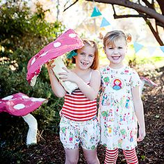 Once Upon a Time photo shoot incorporates paper mache mushrooms for a sweet whimsical feel.