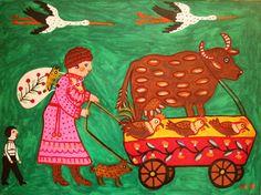 Peasant woman is going to resort, Maria Pryimachenko, 1981