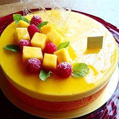 Mangue-passion-framboise マング・パッション・フランボワーズ フランボワーズのクレムー入りマンゴーとパッションフルーツのムース  #gateau #cake #mangue #mango #passionfruit #moussemangue #mousse #framboise #raspberry #ケーキ #ムース #マンゴー #マンゴームース #パッションフルーツ #フランボワーズ #ラズベリー #フランス菓子