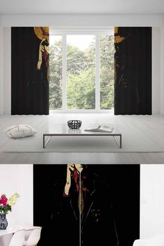 One Piece Curtains Black Cartoon Curtain For Home Decor Living Room Kids Bedroom
