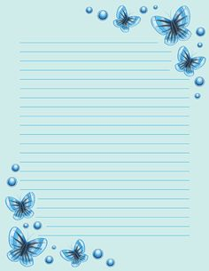 Free printable blue butterfly stationery for x 11 paper. Available in JPG or PDF format and in lined and unlined versions. Printable Lined Paper, Free Printable Stationery, Pretty Writing, Framed Wallpaper, Flower Phone Wallpaper, Card Patterns, Felt Patterns, Blue Butterfly, Butterfly Mobile