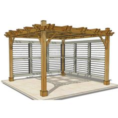 Outdoor Living Today - 12 x 12 Breeze Pergola with 2 Louvered Wall Panels - Default Title - Outdoor Living  - Yard Outlet