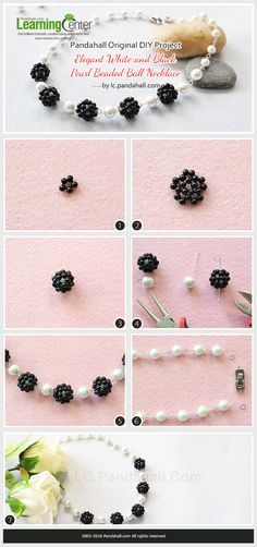 Original DIY Project – Elegant White and Black Pearl Beaded Ball Necklace from LC.Pandahall.com   #pandahall