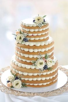 non traditional wedding dessert ideas tired cake with white cream and flowers vk. - non traditional wedding dessert ideas tired cake with white cream and flowers vkusnoisladko - Pretty Cakes, Cute Cakes, Beautiful Cakes, Amazing Cakes, Creative Desserts, Creative Cakes, Fancy Desserts, Food Cakes, Cupcake Cakes