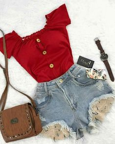 Outfits - look at that top! I don't care for the shorts but omg that top is soooo cute~☆ Teen Fashion Outfits, Cute Fashion, Look Fashion, Outfits For Teens, Womens Fashion, Cute Summer Outfits, Cute Casual Outfits, Spring Outfits, Mode Rockabilly