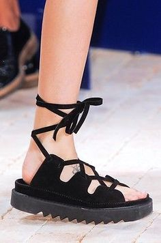 Celine-AUTH-Lace-Up-Blk-Suede-Ghillie-Neoprene-Platform-Gladiator-Sandals-39-NIB