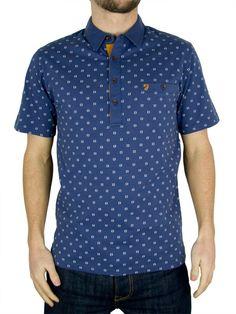 a15d7e11101a Farah Vintage - Washed Indigo The George Pattern Polo Shirt - Mens   Amazon.co.uk  Clothing
