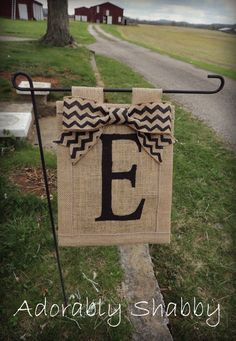 TODAY- Personalized Burlap Flag with Chevron Burlap Bow