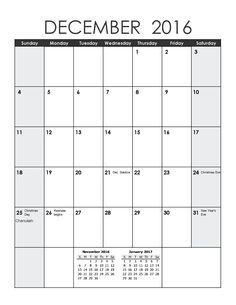 December 2016 Calendar for December's Agendas