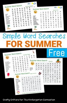These summer word searches for kids are the perfect grab and go activity! With words that go only vertical and horizontal, they are great for beginners! School Age Activities, Library Activities, Word Work Activities, Summer Activities For Kids, Kindergarten Word Search, Kindergarten Freebies, Kindergarten Activities, Preschool Ideas, Learning Activities