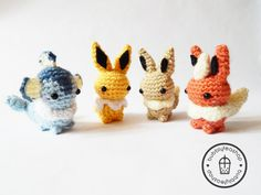 --->>> Mini Eeveelution Amigurumi Plush Keychain Set  by BubblyTeaShop