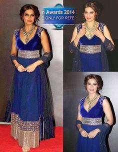 Bipasha Basu Blue Net Anarkali Style Suit 34580