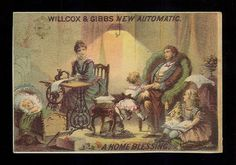 Happy Family Relax In Parlor-Victorian trade card - Willcox & Gibbs Sewing Machines