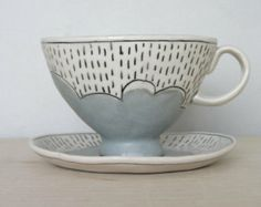 Coffee for a Rainy Day, Porcelain Teacup and Saucer Made to Order