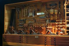 Woodworking Tool Cabinet, Woodworking Tools For Sale, Essential Woodworking Tools, Woodworking Workbench, Wood Tools, Diy Tools, Tool Storage Cabinets, Garage Storage, Intarsia Woodworking
