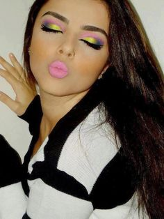 Love this bright 80's makeup!