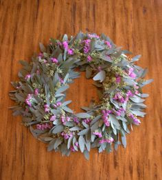 Seeded Eucalyptus Wreath with Statice