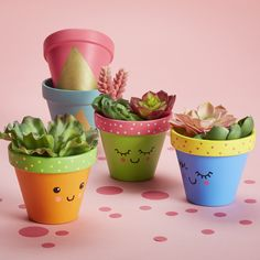 Mothers Day Crafts For Kids Discover Martha Stewart Crafts Basic Brush Set 5 Pc Painted Kawaii Clay Pot Painted Plant Pots, Painted Flower Pots, Decorated Flower Pots, Paint Garden Pots, Painted Pebbles, Flower Pot Crafts, Clay Pot Crafts, Flower Pot Art, Cactus Flower