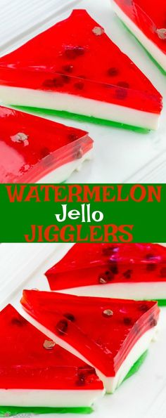 Watermelon Jello Jigglers {A Tasty, Delicious, Kid-Friendly Treat} Want some fun this summer? Then you love these Watermelon Jello Jigglers! Jello Desserts, Jello Recipes, Delicious Desserts, Dessert Recipes, Jello Salads, Fruit Salads, Kid Recipes, Blender Recipes, Health Desserts