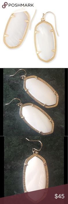 Kendra Scott Elle Earrings in White Pearl These earrings have only been worn once and are in perfect condition; no tarnish, damage, imperfections, etc. Authentic, purchased in Nordstrom. I no longer have the dust bag or card. Non-smoking home. Lowball offers will not receive a reply. Kendra Scott Jewelry Earrings