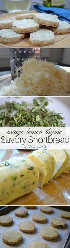 Asiago Lemon Thyme Shortbread is a buttery, savory shortbread cracker  I think I'll try it with a different cheese.