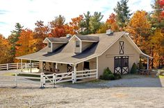 Drive way leading up to entrance of barn. 2 stories: ground floor - 3 horse stalls, wash bay, tack room (blanket closet, changing room, bathroom), feed room. Second floor: loft (reading nook/office), small bedroom. Barn will have heating and air conditioning. Small pasture connected to barn.