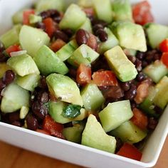 Black bean, avocado, cucumber and tomato salad!  Our side dish tonight with fish tacos - perfect combo!