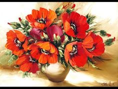 Мастер класс рисуем маки - YouTube master class draw poppies, oil painting
