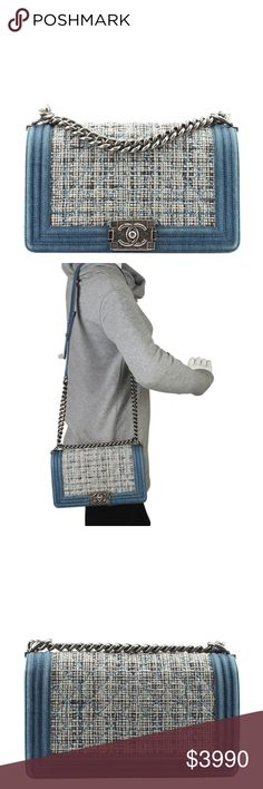Chanel Boy Blue Denim Tweed Flap Bag 131105 •Designer: Chanel •Exterior Condition: Gently Used •Type: Shoulder Bag •Origin: Italy •Hardware: Silver-Tone •Meas (L x W x H): 9x3x5 •Strap Drop: 21 •Interior Pockets: 1 •Production Code: 19244128 •Overall Condition Description: -Exterior corners show scuffing -Exterior denim shows scuffing in various locations -Interior leather shows light scuffing and wear -Please note, this is the old medium size boy bag, not the new medium size Ref…